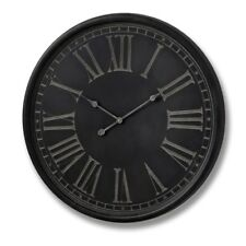 Large Antique Style Round Grey Black Wall Clock (H16339) - Dimensions: 80cm