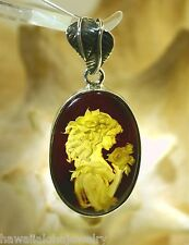 Silver Genuine Baltic Sea Honey Amber Intaglio Cameo Elegant Lady Pendant #41