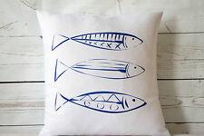 "Fish Sketch - 16"" cushion cover nautical/coastal shabby vintage chic"