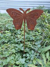 Rusty Butterfly with Cut Out Detail Garden Stake Lawn Ornament Amish Made in USA