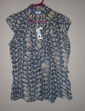Worthington Black & Tan Button Front Cascading Ruffled Blouse Cap Sleeve M  NWT