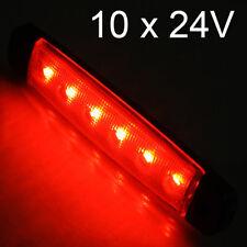 10 X 6 Led 24v Luces de Posición Laterales Luz Esbozado Camión Rojo