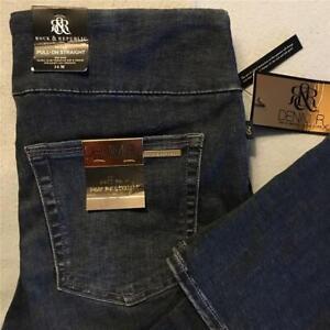 Rock & Republic Fever Pull On Jeans 14M w/Tags Straight Leg Distressed Denim RX