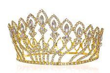 Gold Bridal Pageant Rhinestone Crystal Prom Wedding Full Crown Tiara 1184