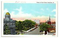 Mid-1900s Scene on Court St, Kankakee, IL Postcard