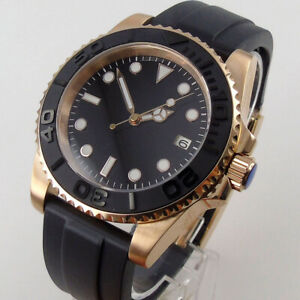 40mm Bliger black dial flat sapphire glass NH35 miyota 8215 automatic mens watch