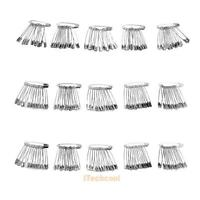 60pcs Silver Tone Metal Stainless Steel Brooch Badge Jewelry Safety Pins Kits