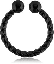 NEW Black PVD Surgical Steel Fake Septum Ring Aussie Seller Free Delivery