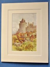 THE CURFEW TOWER WINDSOR CASTLE VINTAGE DOUBLE MOUNTED WATER COLOUR PRINT 10X8