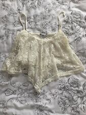 Women's Size 12 New Look Cream Lace Cropped Cami Top