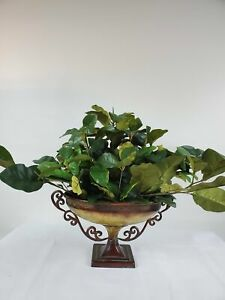#Home Interiors - Faux Artificial Foliage In a Metal Vase-40150