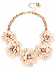 Betsey Johnson MARIE ANTOINETTE Rose/Pink Flower Statement Necklace $165 NEW