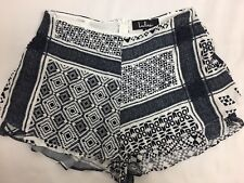 Lulus Womens Printed Black And White Ruffle Layered Shorts Size Small New