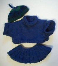 Blue Bear doll sweater and skirt hand knitted