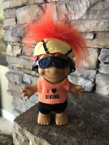"Russ Troll Doll! 4"" Orange Hair Brown Eyes! I Love Biking!"