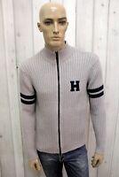 TOMMY HILFIGER Maglione Uomo Taglia M Grigio Cotone Casual Sweater Pullover Pull