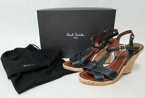 Paul Smith Ladies Black Espadrille Wedge Leather Sandals Size UK5 Box & Dust Bag