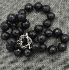"""Beautiful 12mm Faceted Round Black Agate Necklac 18 """" Love Clasps"""