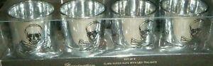 ILLUMINATION SET 4 GLASS VOTIVE CUPS W/ LED CANDLE FLAME TEALIGHTS SKULL X BONES