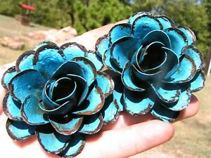 2 Large metal Blue Roses, flowers for crafts, jewelry, embellishments, accents