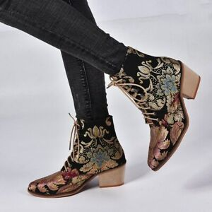 Women Ankle Boots Chunky Heel Embroidered Lace Up Pointed Toe Strappy Shoes Boot