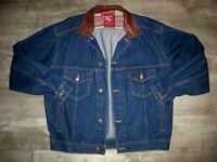 Vintage Marlboro Country Store Denim Jacket Leather Collar Men's Size Medium