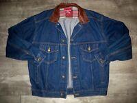 Vintage Marlboro Country Store Denim Jacket Leather Collar Men's Size Medium