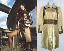 GUCCI by TOM FORD Metallic Gold Leather Runway Coat Jacket S 4 6 COLLECTORS $10K