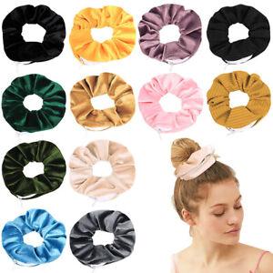 Velvet zipped Pocket Zip Storage Hair Scrunchies Hair Elastic Bobble