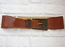 "Left Bank Brown Wide Leather Belt with Large Brass Buckle 80cm (31.5"")"