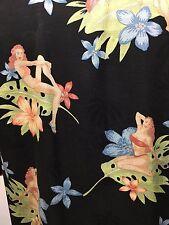 Tommy Bahama Mens M Bikini Bathing Beauties Hawaiian Black Silk Shirt Copyright