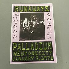 RUNAWAYS - CONCERT POSTER - PALLADIUM NEW YORK CITY U.S.A. 1978  (A3 SIZE)