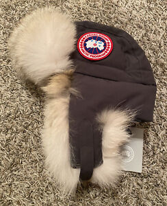 NEW Canada Goose Down Aviator Hat w/ Real Fur Gray Size S/M Small/Medium NWT