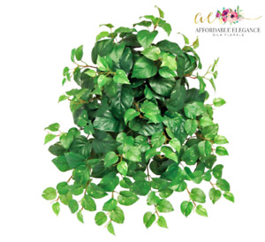 17in Pothos Hanging Plant Bush Variegated Leaf Artificial Greenery Fake Silk Ivy