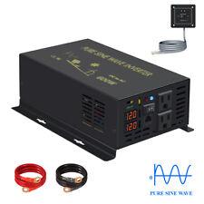 600W Car Power Pure Sine Wave Inverter 12V 110V 220 Remote Generator Truck Motor