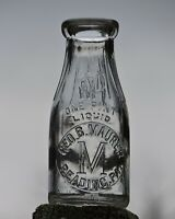 GEO. B. MAURER READING, PA. DAIRY , 1920's PINT SLUG PLATE EMBOSSED MILK BOTTLE