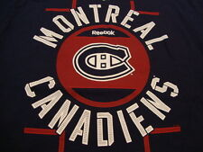 NHL Montreal Canadiens Hockey League Fan Reebok Apparel Blue T Shirt L