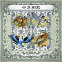 Maldives 2017 MNH Kingfishers Malachite Kingfisher 4v M/S Birds Stamps