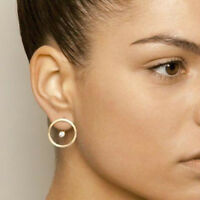 Minimalist Gold Crystal Bead Circle Stud Earrings Double Side Ear Jacket Jewelry