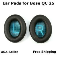 Ear Cushion Pads Pair Black for Bose QuietComfort QC 25 Headphones Free Ship
