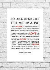 Mumford & Sons - Believe - Song Lyric Art Poster - A4 Size