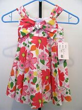 PLUM PUDDING, Girls Red & Orange Floral Summer Dress / Front Bow Size 24 M NWT