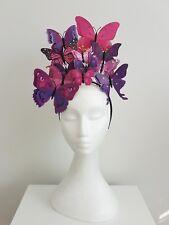 Miss Butterfly womens fashion butterfly headband fascinator in Pink / Purple