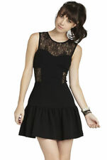 BCBG Seamed Panel Lace See Through Cocktail Dress Black 0 XS Classic