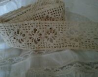 """Antique Knit Lace Insert Cotton for Vintage Projects Crafters Sewing Trim 85"""""""