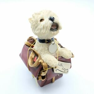 """Vintage Leonardo Collection """"With Love"""" Westie Dog Sitting In Gift Box"""