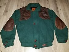 Vintage Browning Wool Shooting Hunting Leather Bomber Men's Coat Jacket Size M