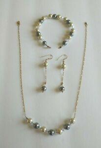 Swarovski Pearls & AB Crystals Set Necklace Bracelet Dangle Earrings Suite
