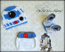 0-3 m Baby R2D2 Crochet Hat, Booties & Diaper Cover Crochet Star Wars Outfit