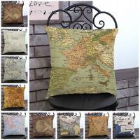 Vintage World Map Motif Housse de Coussin Coton Lin Taie d'oreiller Maison Decor